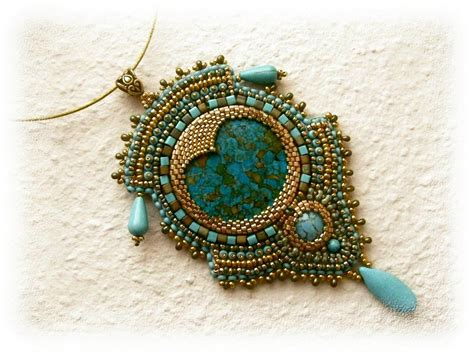 beaded embroidery gold and turquoise bead embroidered necklace ooak