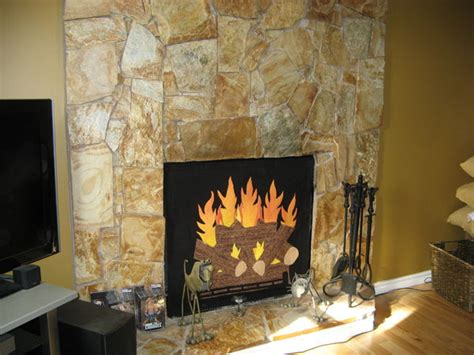 How To Cover A Fireplace With by Fireplace Opening Cover