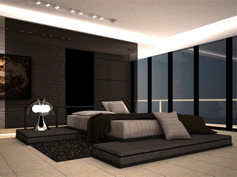 luxury bedroom designs with modern and contemporary black gloss wall panel with large platform size bedding