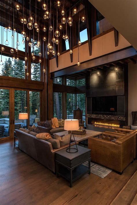 modern rustic home interior design lake tahoe getaway features contemporary barn aesthetic