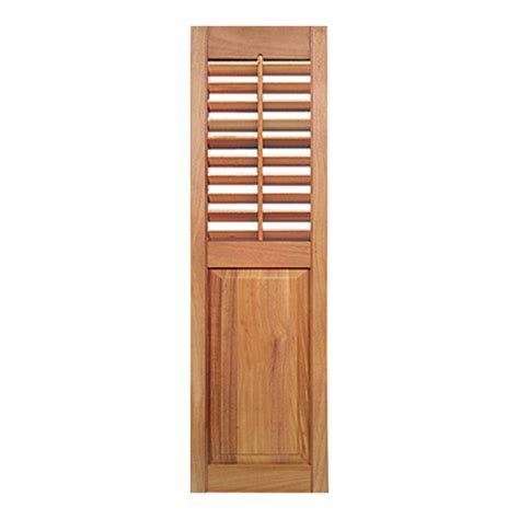 Exterior Wood Louvered Doors Shop Southern Shutter Company 2 Pack Cedar Louvered Wood Exterior Shutters Common 15 In X