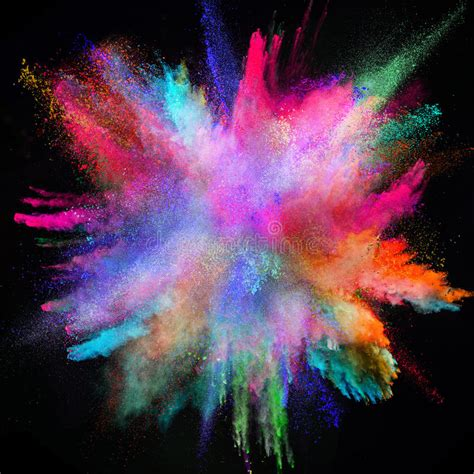 colored powder colored powder explosion on black background stock image