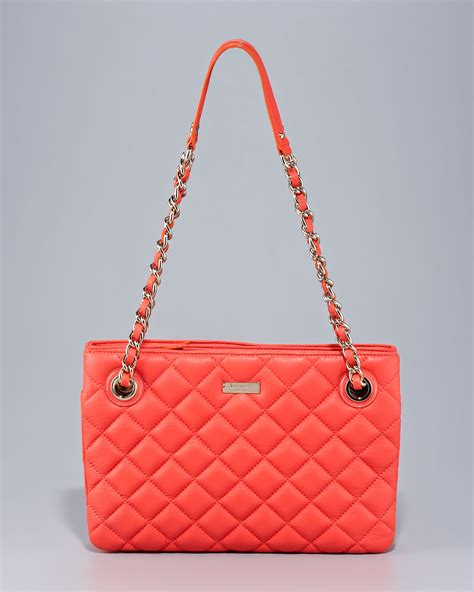 Quilted Kate Spade Handbag by Kate Spade Leighton Quilted Leather Bag In Black Lyst
