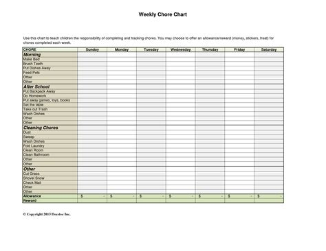 weekly chore chart template 10 best images of daily weekly chore chart template