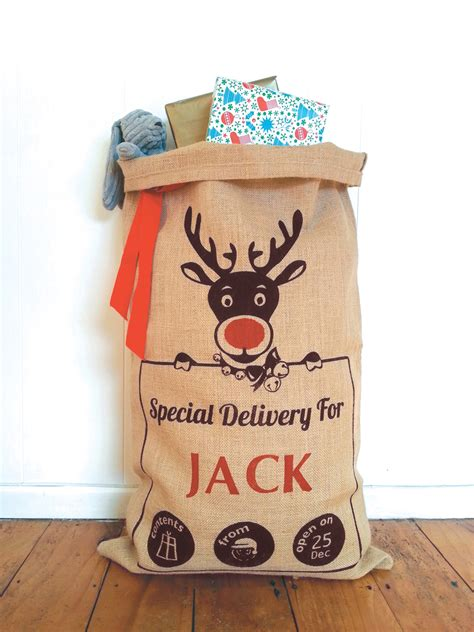 personalised hand screenprinted santa sack rudolf the red