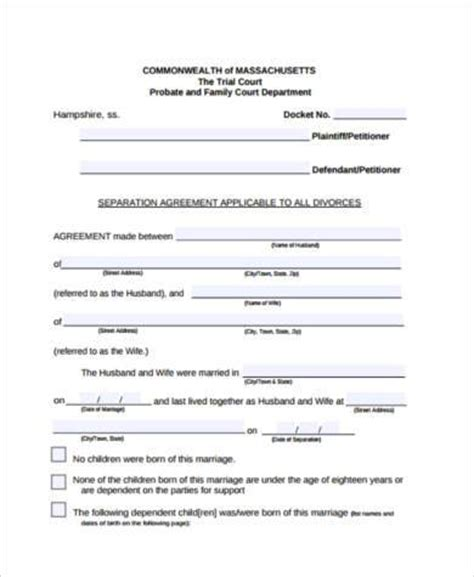 Separation Agreement Form Sles 10 Free Documents In Pdf Therapeutic Separation Agreement Template