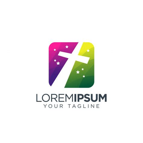 cross green purple logo premium vector