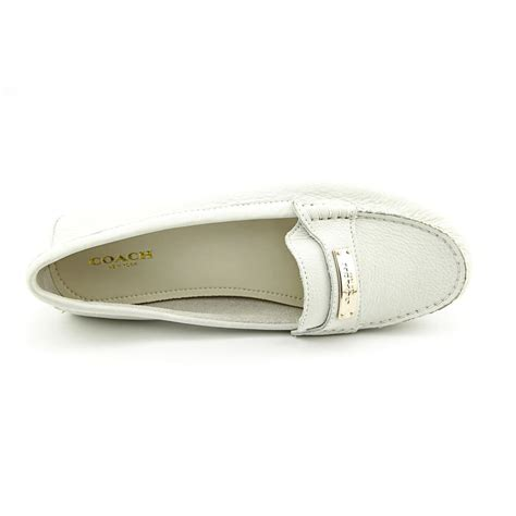 white coach loafers coach fredrica womens size 8 white nubuck leather loafers