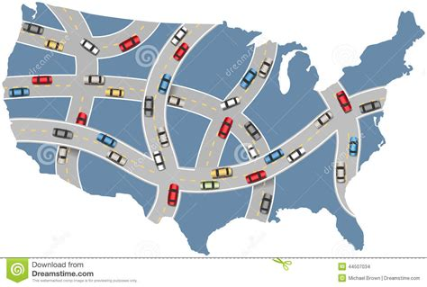 usa road map vector cars travel usa highway transportation map stock vector