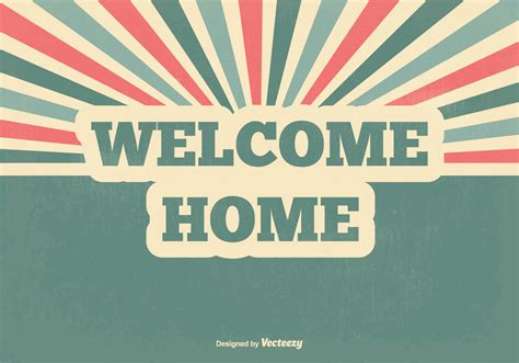 retro welcome home vector illustration free