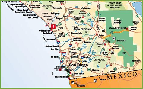 san diego on map of usa san diego area road map