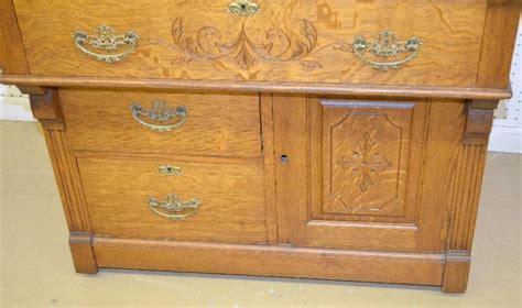 Antique Oak Cylinder Secretary Desk With Bookcase Top The B Antique Oak Desk With Bookcase