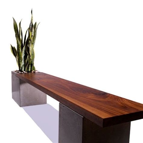wood and concrete bench hand crafted concrete wood planter bench by tao concrete