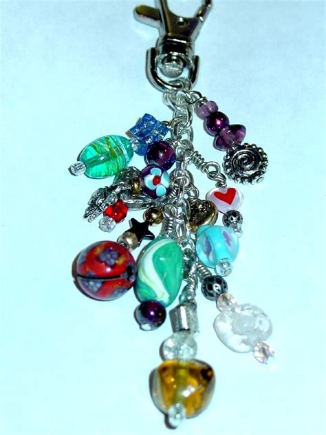 large chain zipper pull charm ooak glass beaded purse back