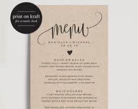 Wedding Menu Design Templates Free by Rustic Wedding Menu Wedding Menu Template Menu Cards
