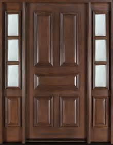 Solid Wooden Front Doors Front Door Custom Single With 2 Sidelites Solid Wood With Walnut Finish Classic Model Db