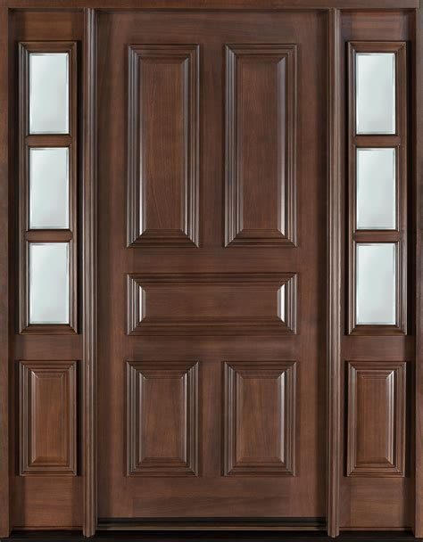 Solid Wood Doors Exterior Front Door Custom Single With 2 Sidelites Solid Wood With Walnut Finish Classic Model Db
