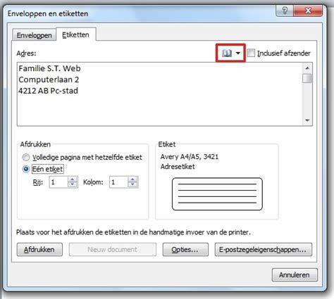 Etiketten Uit Excel In Word by Word Etiketten Maken Word 2010 Seniorweb