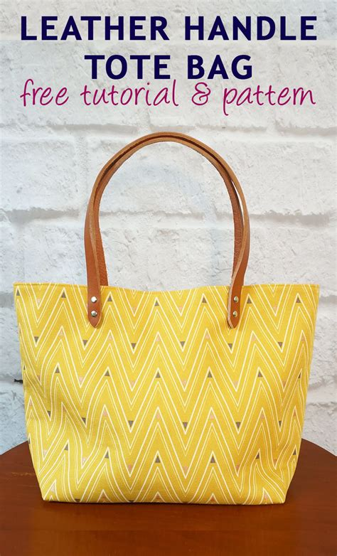 printable fabric bags leather handle tote bag free tutorial and pattern