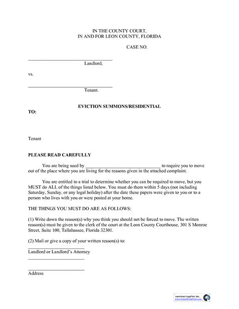 Sle Response Letter Divorce Summons Best Photos Of Florida Eviction Answer Form Sle Eviction Notice Letter Template Sle