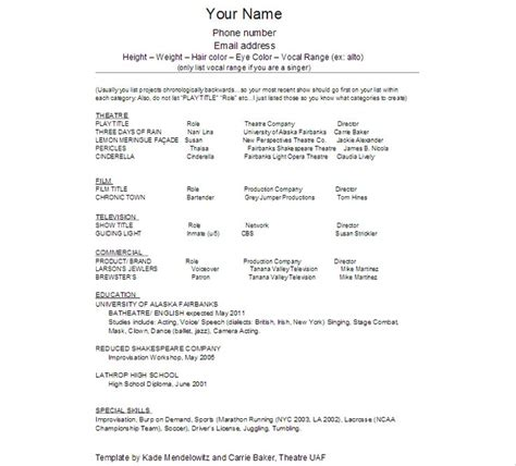 resume acting template beginner resume template commercial acting resume format
