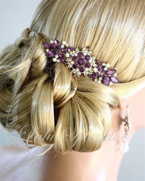Vintage Purple Wedding Hair Accessories by Vintage Bridal Comb Amethyst Wedding Hair Comb Purple