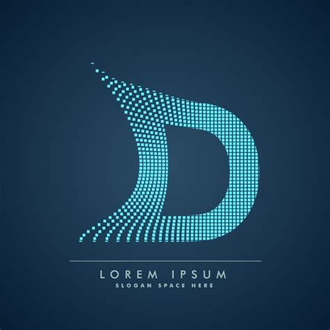 wavy letter d logo in abstract style vector free download