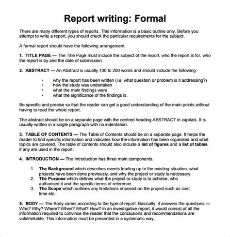 Report Format Essay by Sle Report Writing Format 6 Free Documents In Pdf