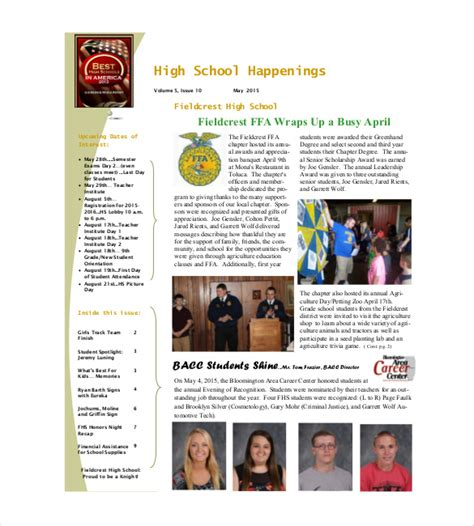 school newsletters templates school newsletter template 9 word pdf psd documents