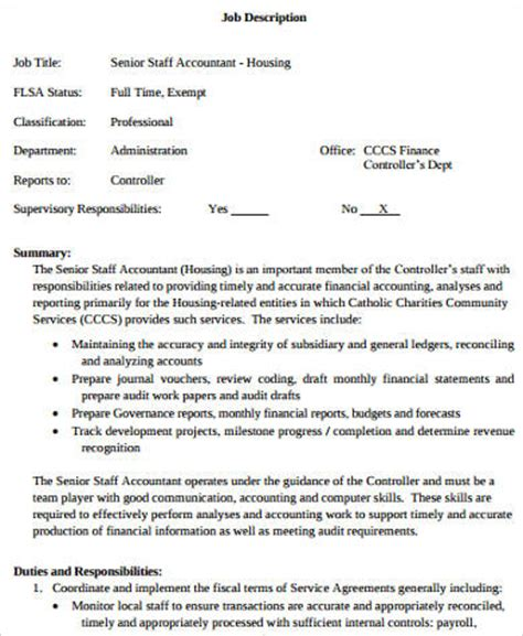 senior staff accountant sle templates senior accountant description teacheng us