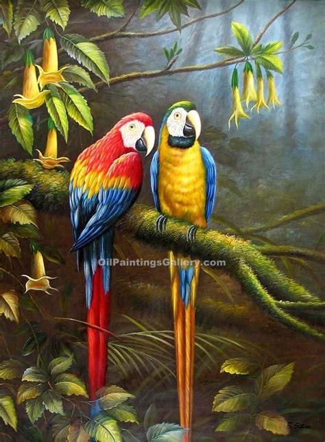 Lukisan Burung Custom jungle parrots 69 painting id an 1069 ka