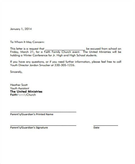 exle of formal excuse letter for college student sle formal excuse letter 5 exles in word pdf