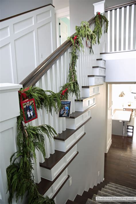 garland for stairs christmas card stair garland the side up