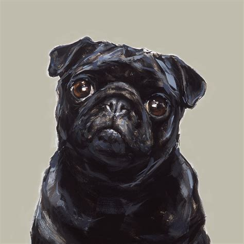 pug artist black pug print signed ltd ed collectable