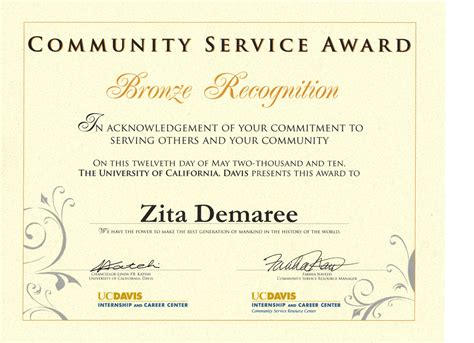community service certificate template images templates