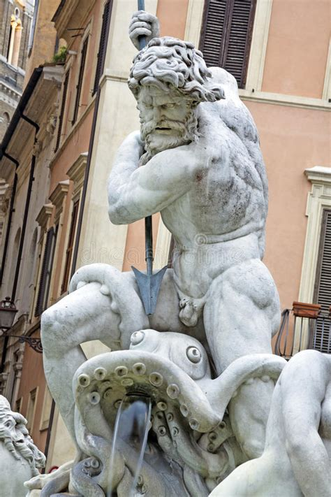 detail of poseidon statue and fountain piazza navona