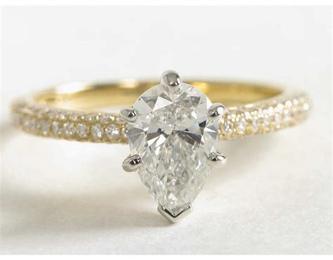yellow gold pear shaped engagement rings wedding and