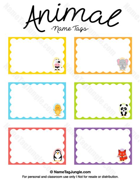 animal small gift cards template printable animal name tags
