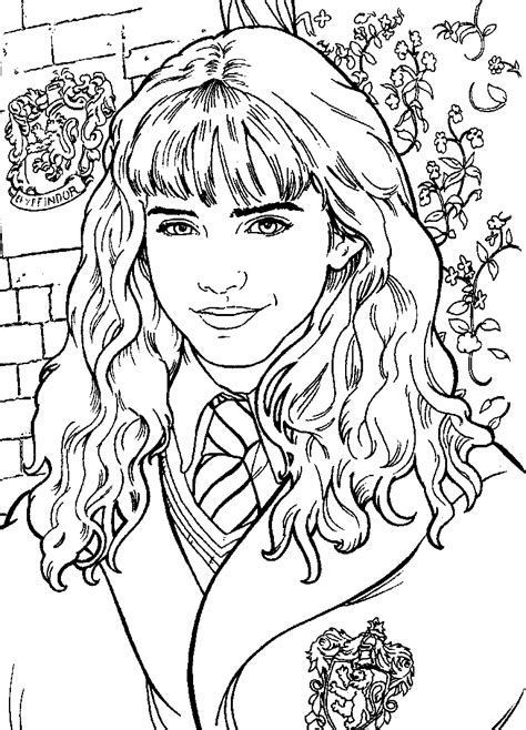 Beautiful hermione free coloring page adults harry