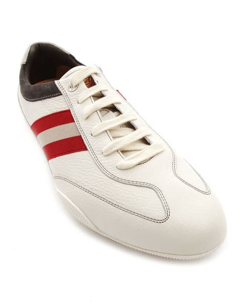white leather sneakers bally zibler white leather sneakers in white for lyst