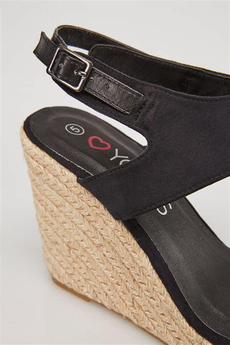 Best Seller Wedges T 1 3 8 Hitam Berkualitas Bagus black microfibre high wedge espadrille sandal in eee fit size 4 5 6 7 8 9 10