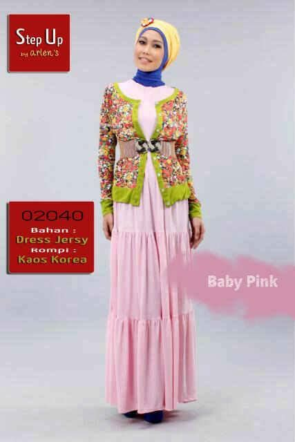 Dress Wanita Muslimah Pink Terlaris step up jacquier bby pink baju muslim gamis modern