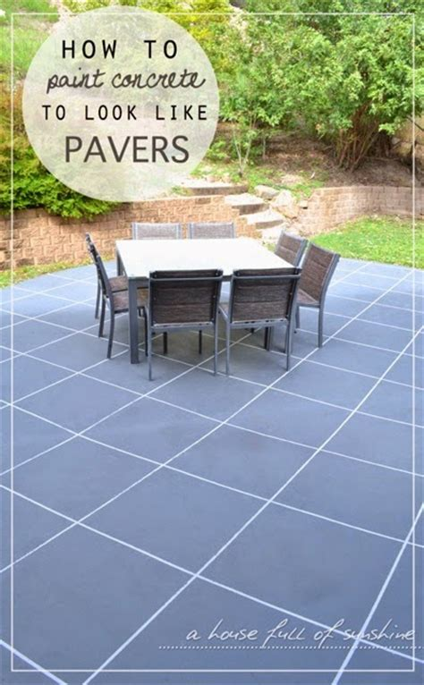 Painting Patio Pavers Backyard Makeover How To Paint Concrete To Look Like Oversize Pavers A House Of
