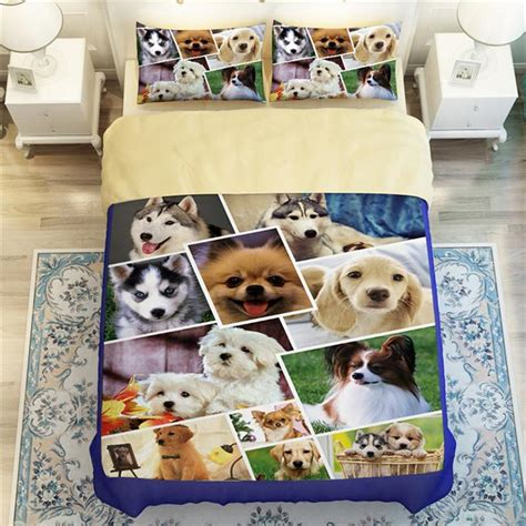 puppy comforter set 3d animals huskies beagles pug print bedding set king size