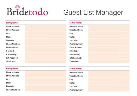 Wedding List by Sle Wedding Guest List Template 15 Free Documents In