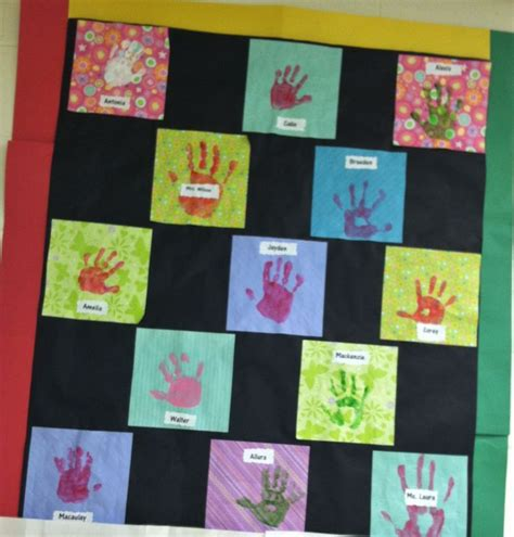 Paper Quilt Craft - preschool letter q week we made a friendship quilt from