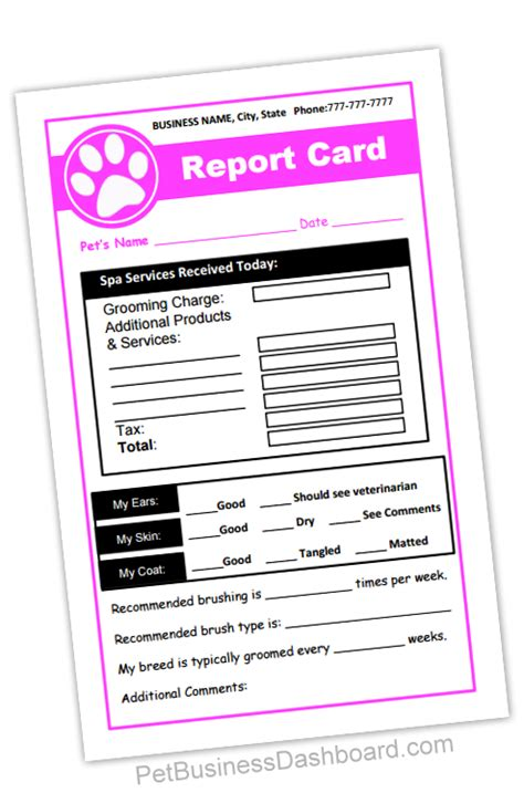 Report Card Letter To Grooming Receipt Report Cards In 1
