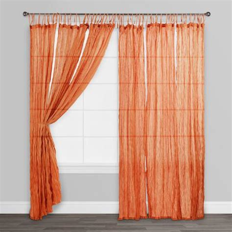 sheer crinkle curtains orange crinkle sheer voile cotton curtains set of 2