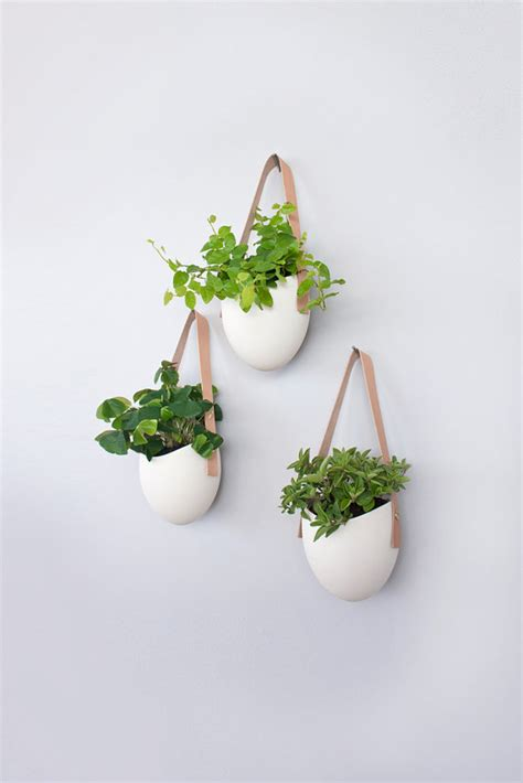 Buy Hanging Planters by Set Of 3 Porcelain Leather Hanging Planters