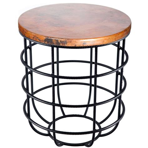 Copper Side Table Pictured Here Is The Axel Side Table With Wrought Iron Base And Hammered Copper Table Top